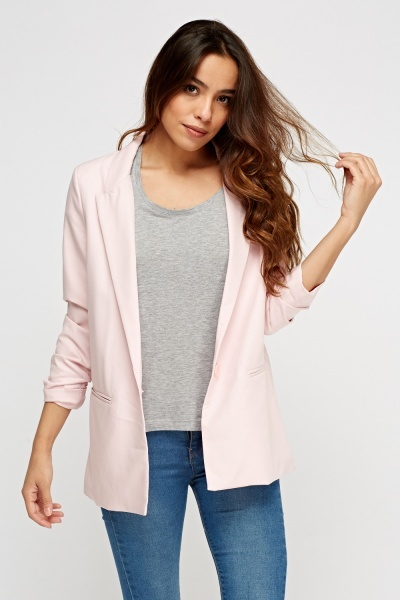 Ruched Sleeve Casual Blazer