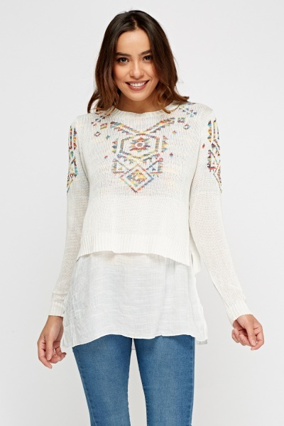 Top Insert Stitched Sweater