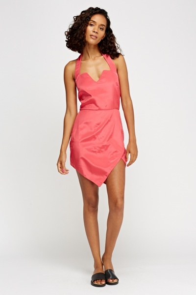 Halter Neck Wrap Hem Dress