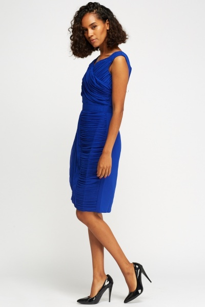 Royal Blue Ruched Wrap Dress
