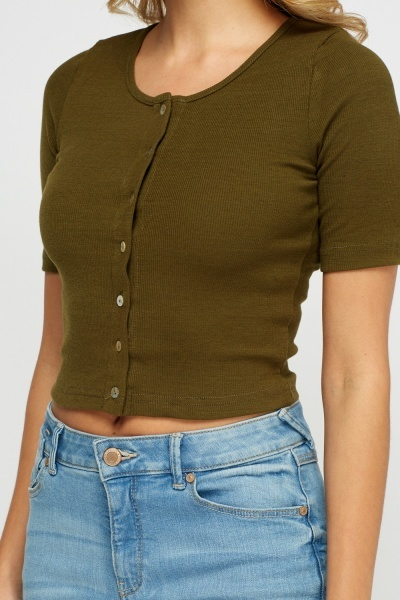 Cropped Ribbed Button Up Top