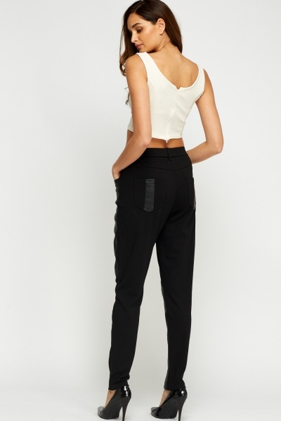 Faux Leather Insert Trousers