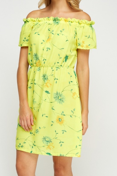 Floral Print Neon Yellow Dress