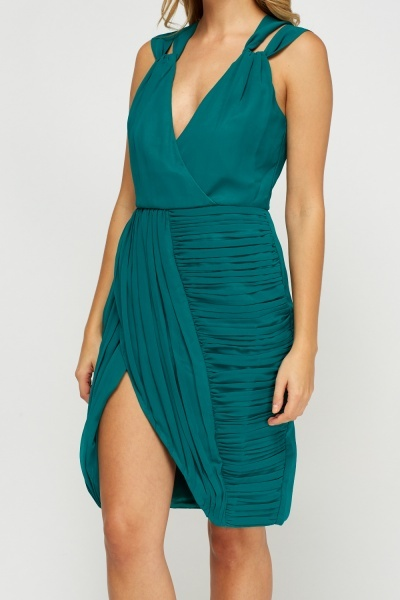 Green Ruched Wrap Dress