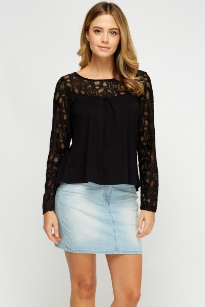 Lace Insert Wrapped Casual Top