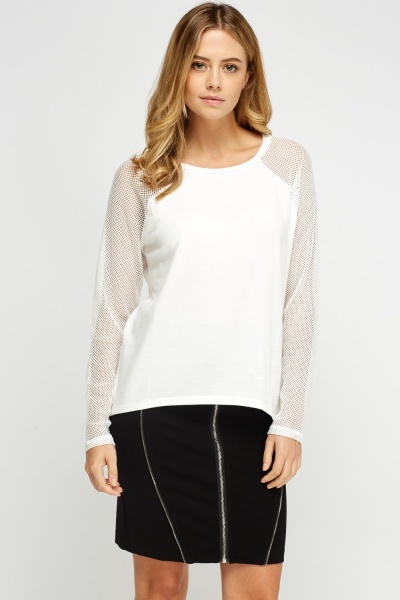 Mesh Sleeve Casual Top