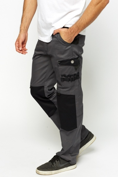 Multi Pocket Straight Leg Work Trousers