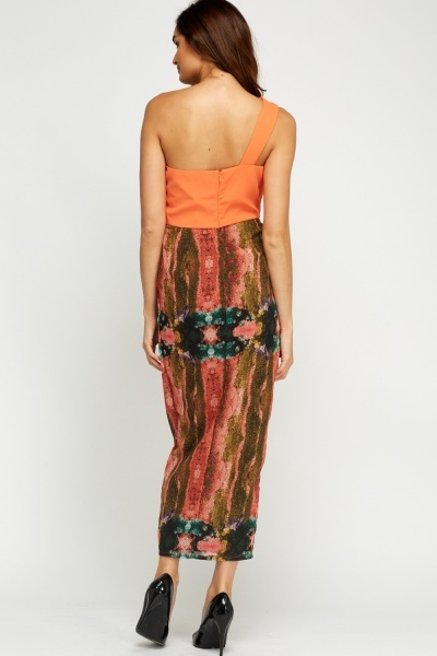 One Shoulder Mixed Print Dress