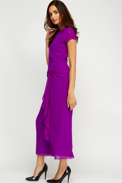 Open Back Frilled Maxi Dress