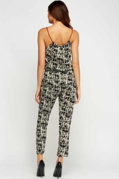 Printed Contrast Jumpsuit
