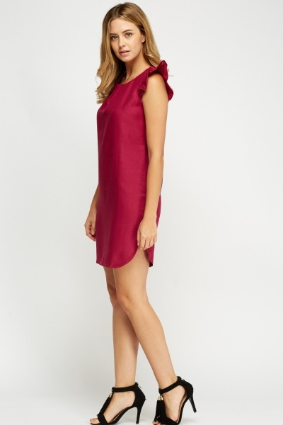 Ruched Sleeve Slip On Dress