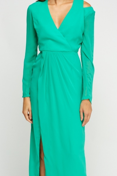 Sheer Wrap Green Slit Front Maxi Dress