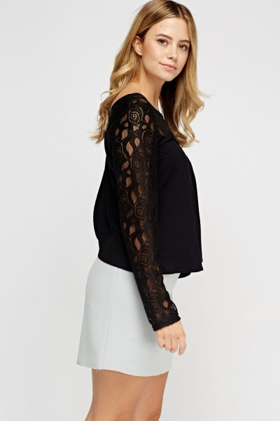 Black Lace Insert Wrap Back Top