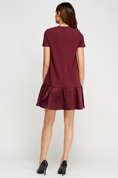 Contrast Flare Hem Plum Dress