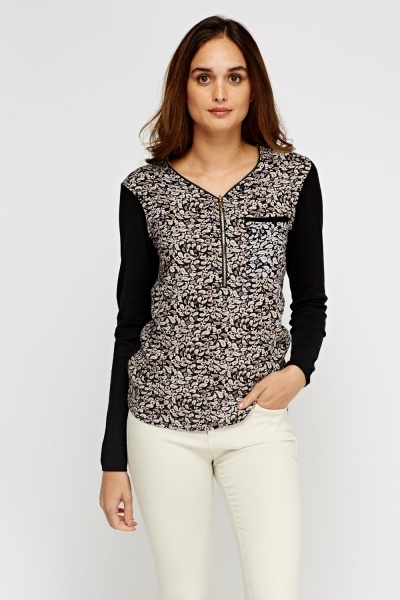 Contrast Print Front Top