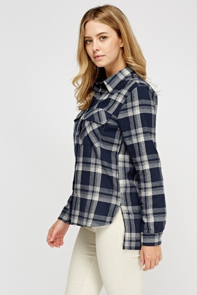 Cotton Checked Dip Hem Shirt