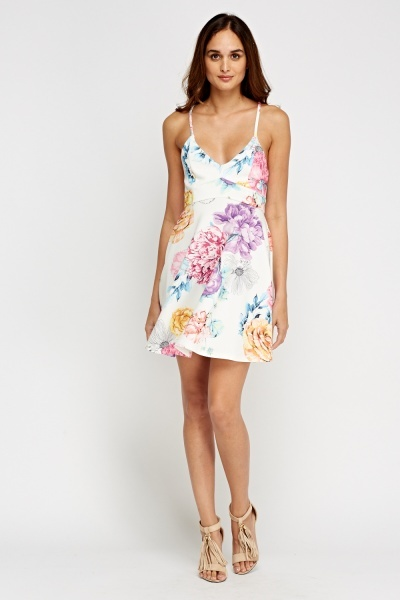Cross Back Printed Skater Dress