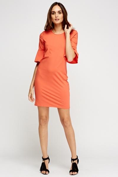 Flare Sleeve Midi Dress