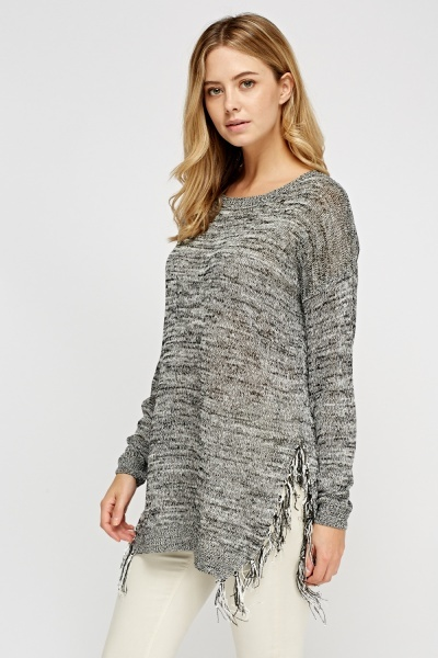 Fringed Hem Knit Sweater