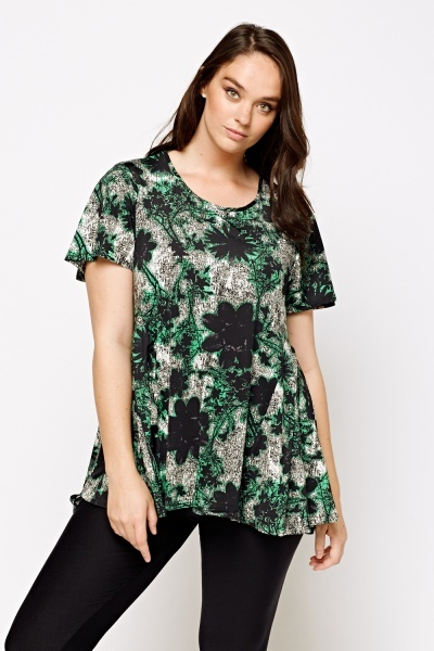 Green Printed Casual Top