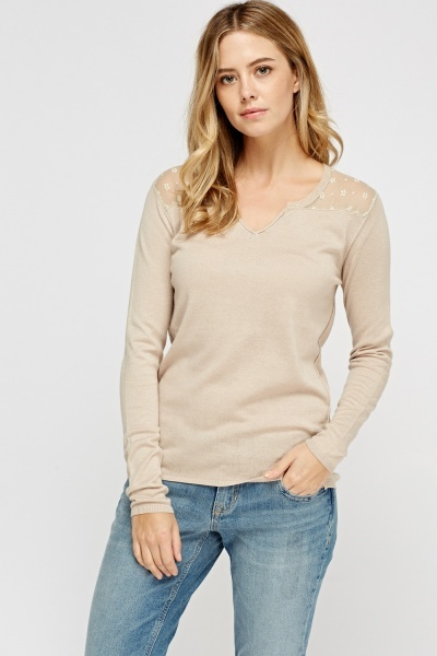 Mesh Insert Knitted Top