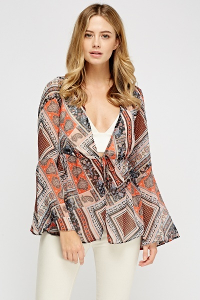 Mixed Print Flare Sleeve Cover Up