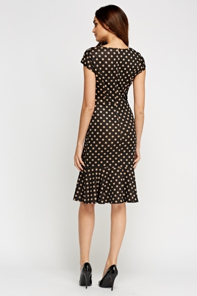 Polka Dot Flare Hem Cap Sleeve Dress