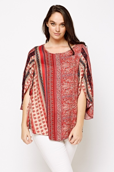 Wrapped Sleeve Ethnic Print Top