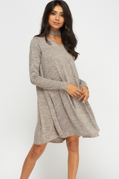 Choker Speckled Swing Dress