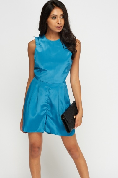 Cut Out Teal Sateen Playsuit