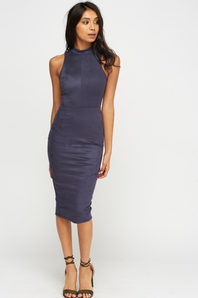 High Neck Middle Blue Suedette Dress
