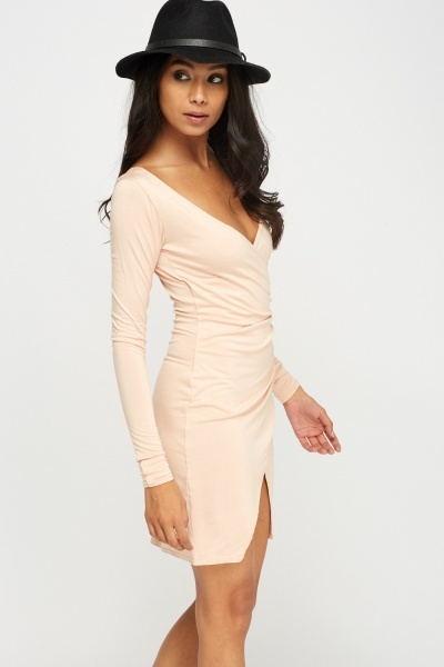 Nude Wrap Ruched Bodycon Dress