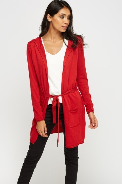 Red Metallic Insert Hooded Knitted Cardigan