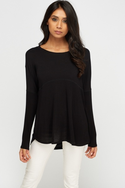 Ribbed Contrast Black Knit Top
