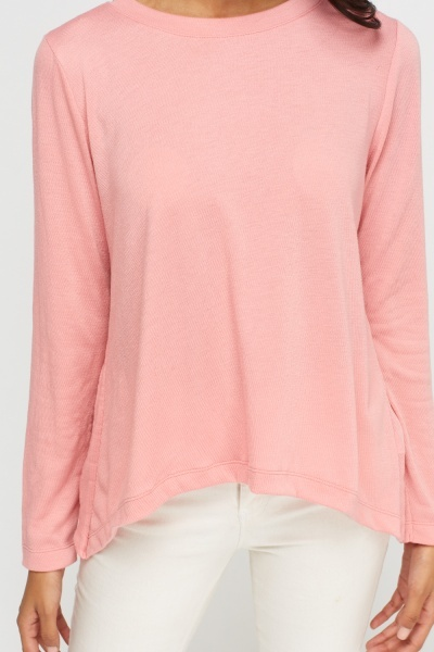 Ribbed Long Sleeve Knit Top