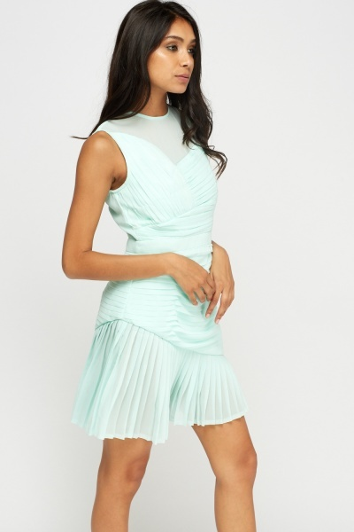 Sheer Mint Pleated Dress