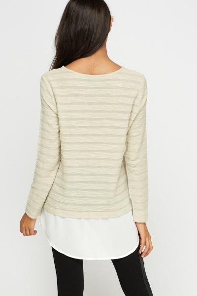 Shirt Insert Ribbed Casual Top