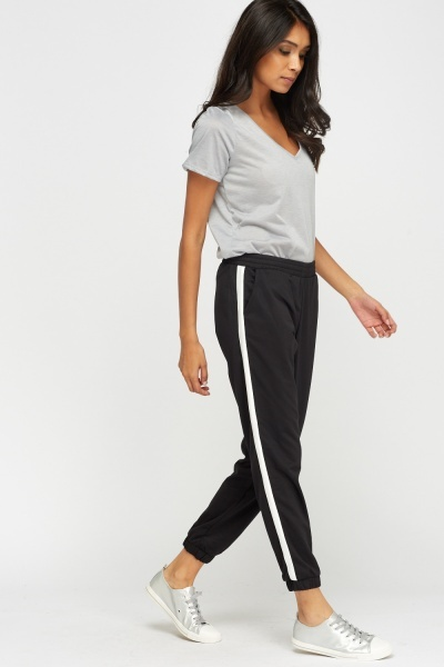 White Stripe Side Petite Joggers
