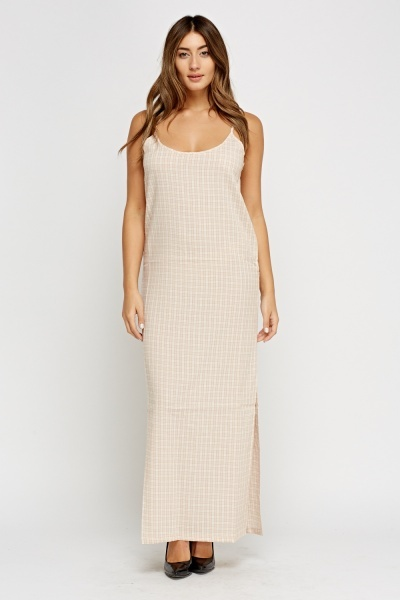 Checked Maxi Slit Side Dress