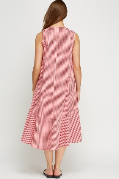 Flare Hem Checked Midi Dress