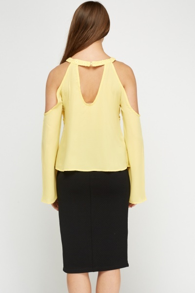 Halter Neck Crochet Insert Yellow Top