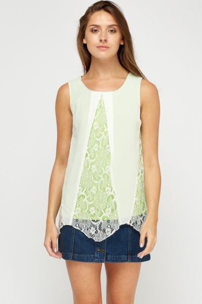 Lace Insert Contrasted Sleeveless Top