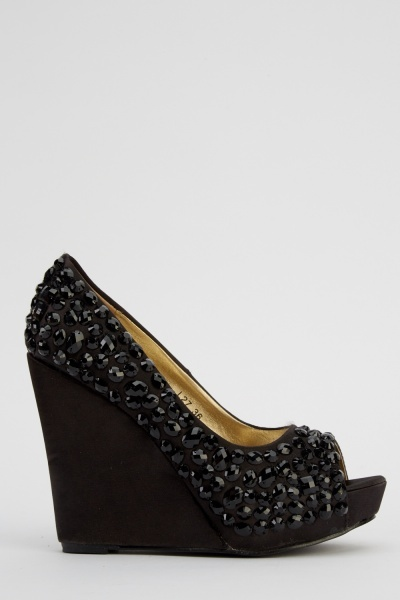 LYDC London Diamante Embellished Sateen Wedged Shoes