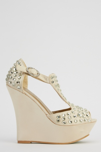 LYDC London Diamonte Embellished Wedge Sandals