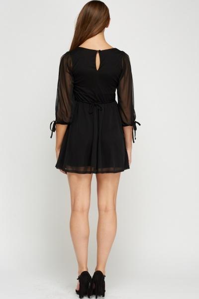 Mesh Overlay Black Skater Dress Just 5