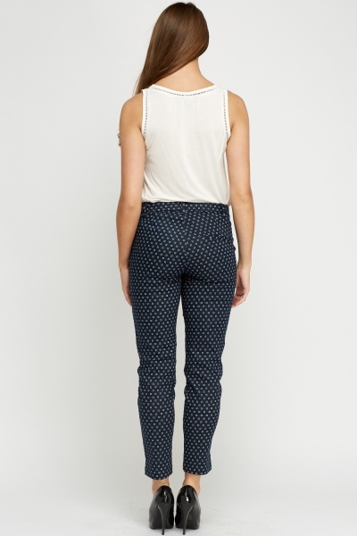 Printed Casual Navy Trousers