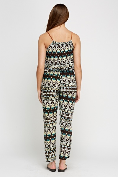 Printed Contrast Mixed Jumpsuit