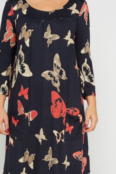 Simple And Chic Butterfly Printed Dress