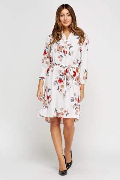 Simple And Chic Off White Zip Neck Printed Tie Up Dress