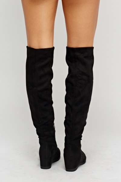 Via Giulia Encrusted Side Knee High Boots